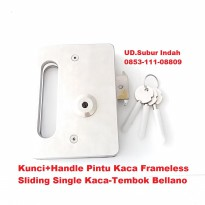 Kunci+Handle Pintu Kaca Frameless Sliding Single Kaca-Tembok Bellano