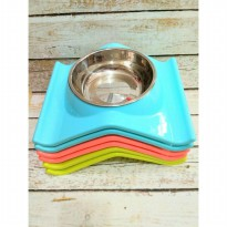 Petopia Single Bowl with Removable Stainless Bowl - Tempat Makan Hewan