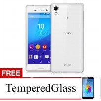 Case for Sony Xperia M4 Aqua - Clear + Gratis Tempered Glass - Ultra Thin Soft Case
