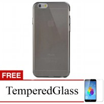 Case for iPhone 6s-6 - Abu-abu + Gratis Tempered Glass - Apple Ultra Thin Soft Case
