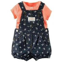 (Recommended) CARTER'S Set 2 in 1 T-Shirt + Overall (Orange Blossom)