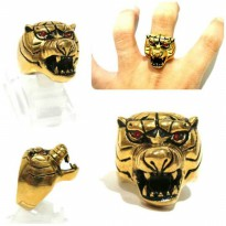 Fashion Man Animal Ring Tiger Gold Titanium