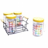 4PCS NAKAMI GLASS CANISTER SET WITH RACK / TOPLES KACA DENGAN RAK - 800ML (NK-GC04800-LMY)