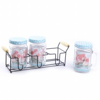 3PCS NAKAMI GLASS CANISTER SET WITH RACK / TOPLES KACA DENGAN RAK - 800ML (NK-GC03800-B)