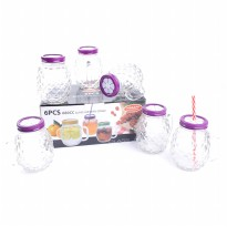 6PCS NAKAMI 680CC GLASS JAR WITH STRAW (NK-GJP680-MSP)