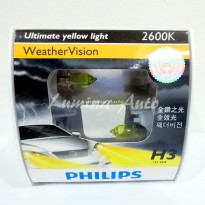 Philips Weather Vision H3 55 Watt - Lampu Mobil / Foglamp Warna Kuning Pekat / Yellow 2600K - JDM