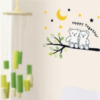 Set Stiker Dekorasi Dinding Motif Sepasang Beruang 'Happy Together'
