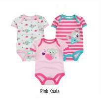 NUBY BABY 3 SET BODYSUIT/ JUMPER BAYI 3IN1 - PINK KOALA
