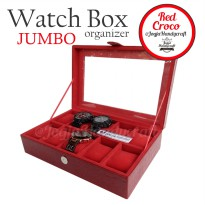 Red Croco Large Size Watch Box Organizer | Kotak Tempat Jam Tangan