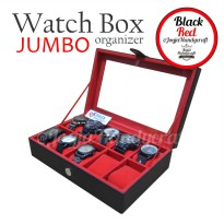 Black Red Large Size Watch Box Organizer | Kotak Tempat Jam Tangan