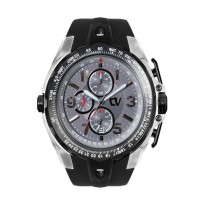 Christ Verra Collection Chronograph Rubber Mens Watch CV C 92181G-30 GRY/BLK - Grey Black