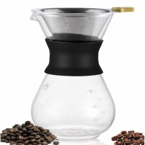 Diguo v60 Glass Pour Over Chemex DG-2118A 400 mL w/ Stainless Strainer