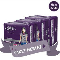 [PAKET HEMAT 3PACK] KOTEX SOFT AND SMOOTH OVERNIGHT 32 CM ISI 9