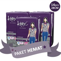 [PAKET HEMAT 3PACK] KOTEX SOFT AND SMOOTH OVERNIGHT 28 CM ISI 14