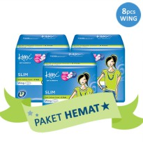 [PAKET HEMAT 3PACK] KOTEX SOFT AND SMOOTH SLIM WING ISI 8