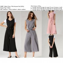 24587 - Pink, Grey, Black Autumn Set (S,M,L) Casual Top + Pants