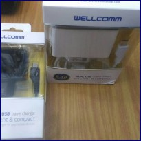 DUAL USB TRAVEL CHARGER WELLCOMM ORIGINAL BERGARANSI