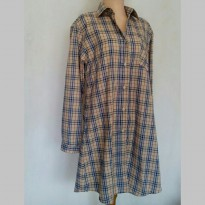 Jelita tartan long shirt cream / Tunik Wanita kotak kotak Cream