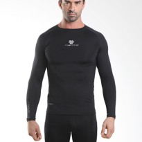 Tiento Baselayer Manset Compression Baju Olahraga Long Sleeve Black Silver Original
