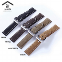 24mm Tali Jam Motif Kulit Beludru Watch Strap Leather