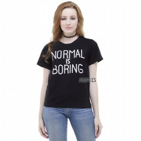 JCLOTHES Tumblr Tee / Kaos Wanita / T-Shirt / Kaos Cewe Normal Is Boring - Hitam
