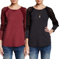 [LUCKY BRAND] BRANDED SWEATER RAGLAN SLEEVE FOR WOMAN-SWEATER WANITA BAHAN MELAR NYAMAN