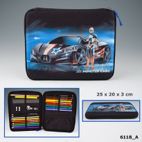 TOP Model 6118 Monster Cars Filled Pencil Case flat