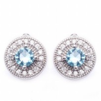 Anting 18k White Gold Filled Blue Aquamarine Round Huggies