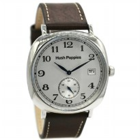 Hush Puppies 3858M-2522 Jam Tangan Pria Leather Strap Coklat Silver