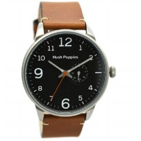 Hush Puppies 7151M-2502 Jam Tangan Pria Leather Strap - Coklat Muda Ring Silver Plat Hitam