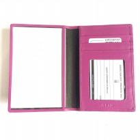 Dompet Passport Cover Kulit Asli RFID Blocking - Fucshia
