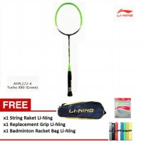 Li-Ning Badminton Racket Turbo X 80 green GRATIS String + Racket Bag 2 Zipper + Grip