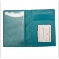 Dompet Passport Cover Kulit Asli RFID Blocking - Aqua