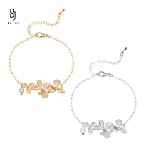 BE.JUU Gelang Flower Up Gold & Silver Korean Jewelry | Material New Brass / Gold & Silver Plated