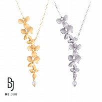 BE.JUU Kalung Twin Flower Up Silver Korean Jewelry