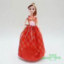 boneka barbie dancing princess gaun merah