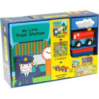 [HelloPandaBooks] My Little Train Station Play Set (Book, Puzzle, 2 Wooden Train Toy)