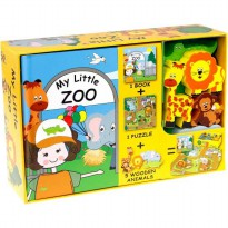 [HelloPandaBooks] My Little Zoo Play Set (Book, Puzzle, 5 Wooden Animals Toys)