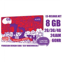 AXIS BRONET PAKET DATA INTERNET 16GB, 8GB+8GB(00-09), 24JAM 60HR (2G/3G/4G)