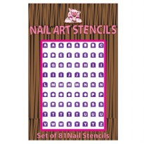 Alphabet Nail Art Stencil purple-group Nail Polish