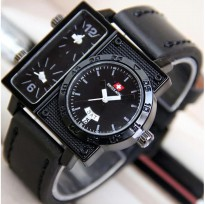 Jam Tangan Pria / Cowok Swiss Army Big Size SK2 Leather Full Black