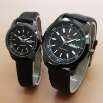 [Swiss Army Couple] TA003 Jam Tangan Couple Leather Date & Day