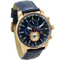 Charles Jourdan 1024-1582 Jam Tangan Pria Leather Strap - Biru Ring Rosegold