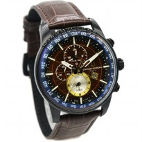 Charles Jourdan 1024-1742 Jam Tangan Pria Leather Strap - Coklat Ring Hitam
