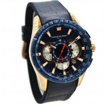 Charles Jourdan 1029-1582C Jam Tangan Pria Leather Strap - Biru Ring Rosegold