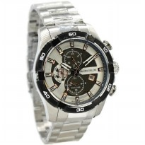 Alain Delon AD413-1312 Jam Tangan Pria Stainless Steel - Silver Ring Hitam