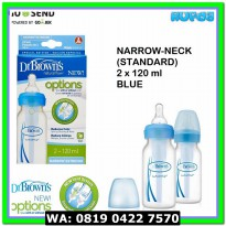 (Botol Susu) (Blue) Narrow 2x120ml Dr Brown's / Browns Options Bottle