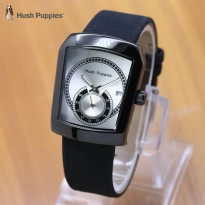 Jam Tangan Wanita / Pria Hush Puppies Ninja Leather Black White
