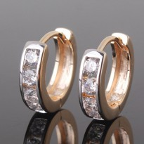Anting 18k white & yellow gold filled two tone earrings, finest quality