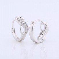 Anting 18k white gold filled infinity cubic zirconia , finest quality